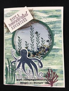Stampin' Up! Tranquil Textures Under the Sea Framelits Sea of Textures Hand Made Greeting Cards, Greeting Cards Handmade, Octopus Card, Sea Texture, Nautical Cards, Beach Cards, Stampin Up Catalog, Card Tags, Door Tags