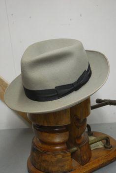 9c6d1bcd Vintage 50's Light Grey Fur/Wool Blend Felt Fedora Trilby Hat  German/Austrian EU 57 UK 7 US 7 1/8