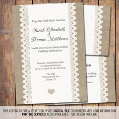 Burlap and lace Wedding Invitation 5x7 by JoyPribishDesigns