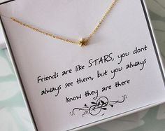 Star Necklace wth message card, Friendship Necklace, Jewelry gift for Sister, Thank you jewelry, best friend gift