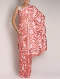 Pink Tussar Silk Kantha Embroidered Saree