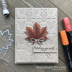 Tin Tile Fall Card & 3 Embossing Folders Back In Stock! Gather Together Bundle & Tin Tile Embossing Folder from Stampin' Up! Card by Mary Fish, Stampin' Pretty Card Making Inspiration, Making Ideas, Fall Cards, Holiday Cards, Mary Fish, Stampin Pretty, Leaf Cards, 3d Cards, Tin Tiles