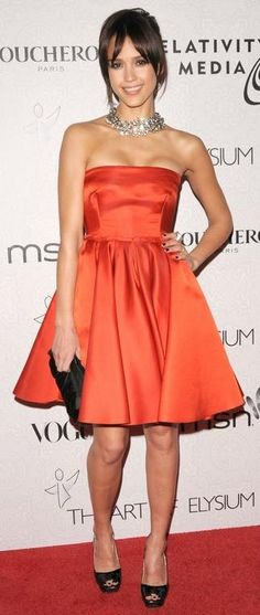 Who made Jessica Alba's red strapless dress, purse and necklace that she wore to the Art of Elysium's 3rd Annual Black Tie Charity Gala in Hollywood, January 16, 2010?
