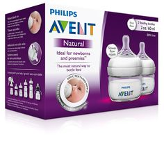 Philips AVENT Natural BPA Free Polypropylene Bottle for Newborns, 2 Ounce (Pack of 2) Philips AVENT SCF699/25 Natural 2 Ounce Bottle is ideal for newborns and preemies. The First Flow nipple has a slower, more controlled flow rate and the small container helps ensure the appropriate amount for baby's smaller tummy. And, it's the most natural way to bottle feed. breastfeeding and bottle feeding.#ad #babygiftguide #baby #gifts #aventmom