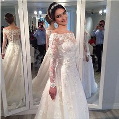 Women's Long Sleeve Lace Wedding Dresses Mermaid Bridal Gowns Custom