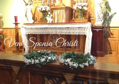 Veni Sponsa Christi! Come Spouse of Christ! The crowns of white flowers wait to be adorned by the Brides of Christ on the day of Profession. ©Sisters, Slaves of the Immaculate Heart of Mary. Saint Benedict Center, Still River MA.