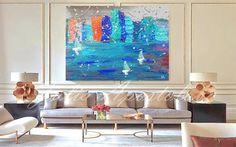 Grote abstracte Skyline schilderij Turquoise en door JuliaApostolova