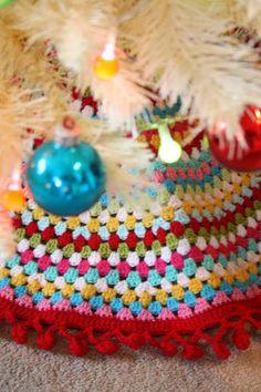 Bright Crochet Christmas tree skirt ~ Cherry Heart