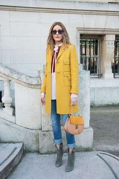Olivia Palermo wearing a yellow coat during Paris Fashion Week Olivia Palermo Street Style, Estilo Olivia Palermo, Olivia Palermo Winter Style, Looks Street Style, Looks Style, Fashion Mode, Look Fashion, Paris Fashion, Street Fashion