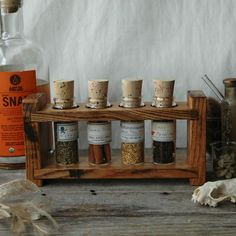 Spice rack, Rustic spice rack with 3 shelves, Kitchen organizer, Rustic ... Spice Rack Wood Spice Rack 4 Shelf