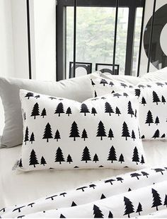 "Black Trees Cotton Fabric - 57"" Wide - Northern Europe Style - Christm 