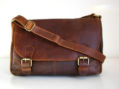 Vintage Style Brown Leather Handbag by TheLeatherStore on Etsy, $130.00