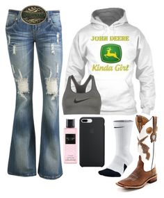 A fashion look from January 2018 featuring blue jeans, NIKE and western boots. Browse and shop related looks. Country Style Outfits, Southern Outfits, Country Fashion, Country Wear, Cute Cowgirl Outfits, Western Outfits Women, Cute Outfits, Outfits For Teens, Fall Outfits