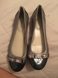 5146b9900842 Silver And Black Flats Size 7.5 Womans  fashion  clothing  shoes   accessories