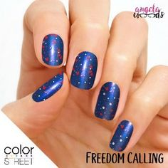 Color Street Freedom Calling's bold blue is topped with sparkling white and red glitter for a festive, patriotic touch! Glitter finish. Each set includes 16 double-ended nail polish strips. 100% nail polish strips, easy to apply with no heat or tools.