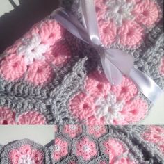 White light pink and light gray African Flower. #crochet #crochetaddict…