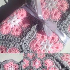 White light pink and light gray African Flower. #crochet #crochetaddict…