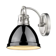 1 Light Bath Light in Pewter with Black Shade by Golden Lighting 3602-BA1 PW-BK