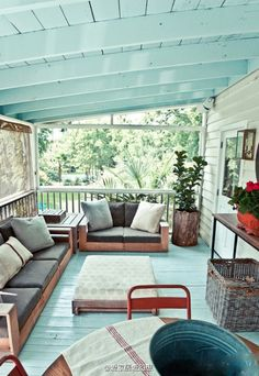 If your deck has an overhanging roof, consider painting your decking boards and the roof in the same color exterior paint or solid-color stain. This pale aqua outdoor spot feels cool and refreshing. We offer #DeckFinishing in the #Bellingham WA area. http://www.northpinepainting.com