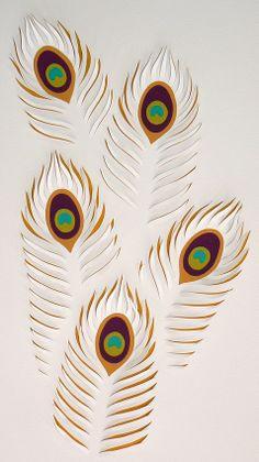 Lisa Rodden, Artist, Peacock Feathers I, Hand Cut Paper & Goauche, 48cm w x 74cm h
