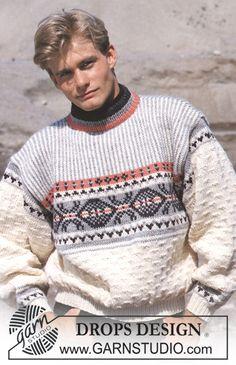DROPS 15-1 - DROPS sweater i Alaska med grafisk og nordisk, stribet bærestykke i Dame- og Herrestr.