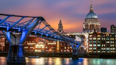 Millennium Bridge, London England, Cathedral, Louvre, Europe, Night, Building, Travel, Viajes