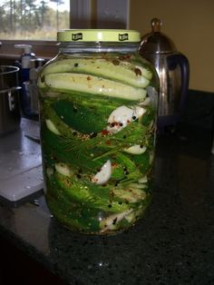 Spicy Dill Pickle Recipe - made 8/13 in 5 quart and 1 pint jars. Remaining brine I put on 1 quart and 1 pint of beets with garlic and dill. Pint also had alum. Quart also had jalapeno.