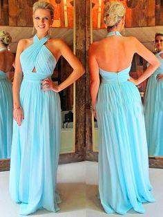 SEXY PROM DRESS, LIGHT BLUE FORMAL DRESS, LONG HALTER BACKLESS EVENING DRESS PARTY DRESS MK557