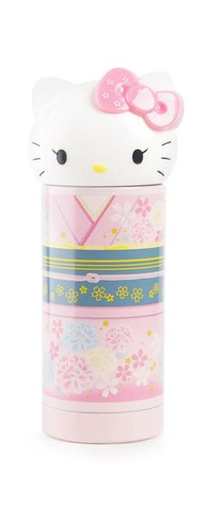 Hello Kitty, wearing an adorable kimono, covers this beautiful stainless steel twist cap reusable thermos.  This super sweet container keeps beverages hot or cold for up to 6 hours.