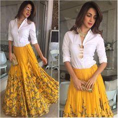 Yellow Lehenga Designs at Mirraw. Indian Gowns Dresses, Indian Fashion Dresses, Dress Indian Style, Indian Designer Outfits, Designer Dresses, Indian Skirt And Top, Designer Sarees, India Fashion, Lehenga Skirt