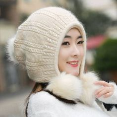 Rabbit fur knit hat with ear flaps for winter womens winter hats c5e56d1e87c