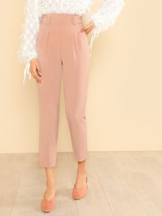 To find out about the Frilled High Rise Pleated Front Pants at SHEIN, part of our latest Pants ready to shop online today! Black Blouse, Black Pants, Beige Pants, Pant Jumpsuit, Trousers, Trendy Outfits, Fashion Outfits, Ootd Fashion, Work Outfits