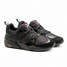 Blaze Of Glory Camping:  In the '90s, PUMA added to the visual technology craze with Trinomic: clear rubber hexagonal cells that collapsed and expanded to cushion, flex, and stabilize. This technology makes a comeback in the Blaze of Glory Camping - which is inspired by the great outdoors with an earthy colorway and a lasered mesh for an adventurous revamp of the clean B.O.G. silhouette.