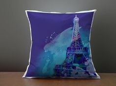 Accent Pillow Eiffel Tower pillow Watercolor Satin Silk by festoso, $25.00