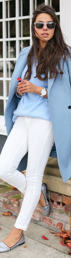 glitter shoes, white jeans, light blue overcoat