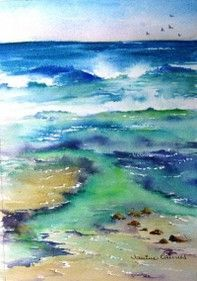Jean Haines   WATERCOLOR Watercolor Ocean, Watercolor Sketchbook, Watercolor Landscape, Landscape Art, Watercolor Paintings, Watercolors, Water Art, Sea Art, Watercolor Techniques
