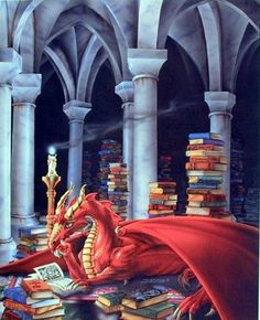 Anna Dragon with a Dragon's hoard of books.even dragons need to read Fantasy Dragon, Dragon Art, Red Dragon, Dragon Tales, Magical Creatures, Fantasy Creatures, Fairytale Creatures, Breathing Fire, Dragon Pictures