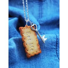 Eat Me Cookie Necklace Polymer Clay, Miniature Clay Dessert Food... ❤ liked on Polyvore featuring jewelry, necklaces, silver plated jewelry, mini necklace, mini charm necklace, clay jewelry and clay jewellery