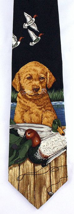 Good As Gold Men/'s Neck Endangered Species Dog Retriever Pet Silk Red Neck Tie