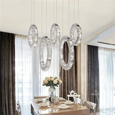 Crystal Pendant Lighting, Glass Pendant Light, Pendant Lamp, Crystal Lights, Dining Room Table Decor, Room Decor, Home Depot Paint, Modern Led Ceiling Lights, Living Room Mirrors