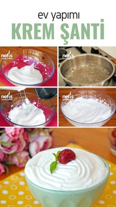 Ev Yapımı Krem Şanti Tarifi (videolu) – Nefis Yemek Tarifleri How to make Homemade Whipped Cream Recipe (with video)? Here is the pictorial description of this recipe in the book of people and the photos of the experimenters. Pasta Recipes, Cake Recipes, Yummy Recipes, Pasta Cake, Delicious Desserts, Yummy Food, Homemade Whipped Cream, How To Make Homemade, Homemade Recipe