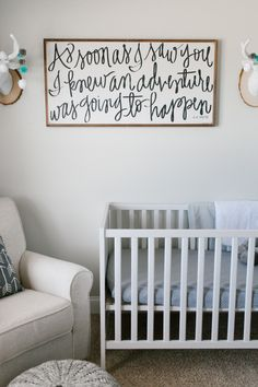 Caleb's Rustic Neutral Nursery Reveal With White, Gray, and Wood Accents House of Belonging Adventure Sign