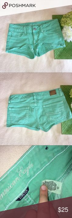 """AEO   mint denim shorts Waist: 14.5""""   Inseam: 2"""". All offers considered :) American Eagle Outfitters Shorts Jean Shorts"""