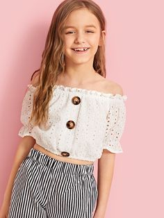 To find out about the Girls Button Detail Schiffli Embroidery Bardot Top at SHEIN, part of our latest Girls Blouses ready to shop online today! Girls Fashion Clothes, Girl Fashion, Fashion Outfits, Leg Of Mutton Sleeve, Bardot Top, Girls Blouse, Cute Girl Outfits, Polka Dot Blouse, Crop Shirt