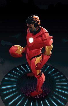 Iron Man by Frank Stockton Marvel Comics Art, Marvel Comic Universe, Marvel Comic Books, Comic Book Characters, Marvel Heroes, Comic Character, Epic Characters, Comics Universe, Marvel Avengers