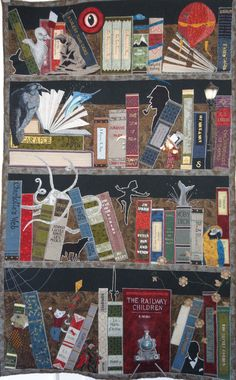 In the library at night..bookcase quilt