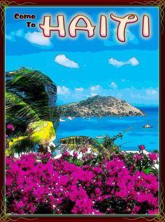 Come-to-Haiti-Caribbean-Island-Islands-Sea-Beach-Travel-Advertisement-Poster