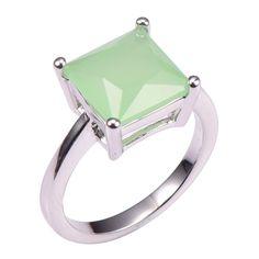Simulierte Prehnite 925 Sterling Silber Hochzeit Mode-Design Romantische Ring Größe 5 6 7 8 9 10 11 12 PR45