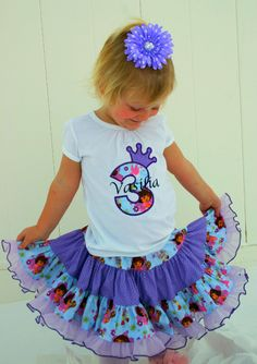 Aris Angels Girls Dora Birthday Outfit, Monogrammed Personalized Shirt & Full Twirling Skirt. $70.00, via Etsy.