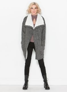 Long Way Faux Shearling Cardigan GREY - GoJane.com